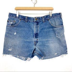 Vintage high waisted cutoff jean shorts light blue